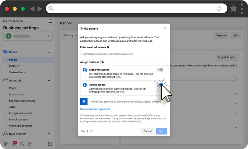 Connecting Facebook business page to Nanos